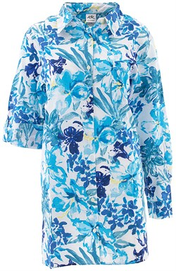 Image of Blue Tropical Cotton Nightshirt for Women