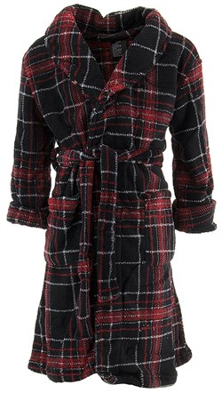 Image of Black Red Plaid Bathrobe for Boys