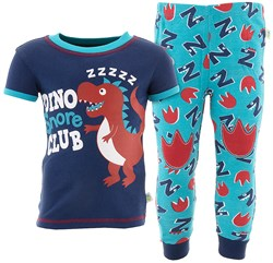 Image of Dino Snore Blue Cotton Pajamas for Baby and Toddler Boys