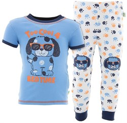 Image of Too Cool Puppy Blue Cotton Pajamas for Baby and Toddler Boys
