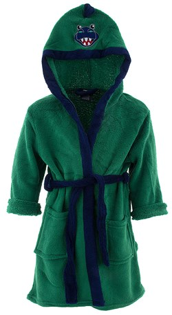 Image of Green Dinosaur Hooded Bathrobe for Boys