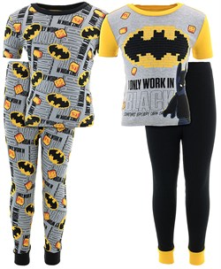 Image of Batman Work In Black Cotton 2-Pack Pajamas for Boys