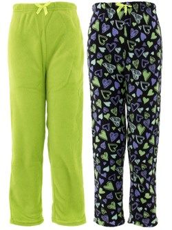 Image of Black Green Hearts 2-Pack Pajama Pants for Girls