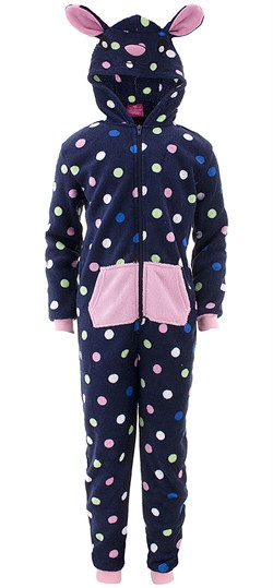 Image of Blue Dots Hooded Critter One-Piece Pajamas for Girls