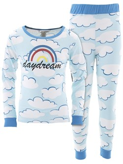 Image of Daydream Blue Cotton Pajamas for Girls
