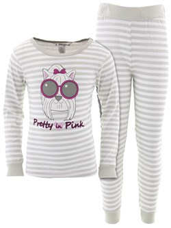 Image of Pretty In Pink Gray Striped Cotton Pajamas for Girls