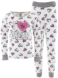 Image of I Love To Dream White Cotton Pajamas for Girls