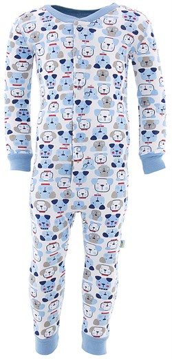 Image of Blue Dog Cotton One-Piece Pajamas for Toddler Boys