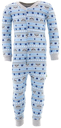 Image of Blue Raccoon Cotton One-Piece Pajamas for Toddler Boys