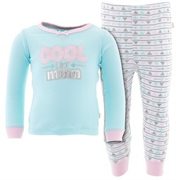 Image of Mint Cool Like Mom Cotton Pajamas for Toddler Girls