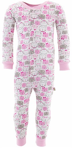 Image of Pink Cat Cotton One-Piece Pajamas for Toddler Girls