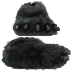 Image of Fuzzy Black Bear Paw Slippers for Men and Women