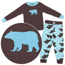 Image of Lazy One Bear Cotton Pajamas for Toddlers and Boys