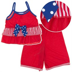 Image of Laura Dare Stars and Stripes Strappy Pajamas for Toddlers and Girls