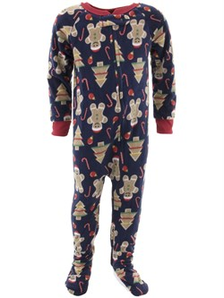 Image of Christmas Navy Footed Pajamas for Baby and Toddler Boys