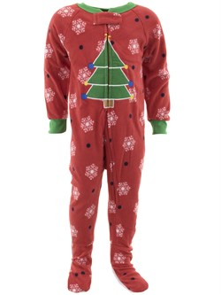 Image of Christmas Tree Red Footed Pajamas for Baby and Toddler Boys
