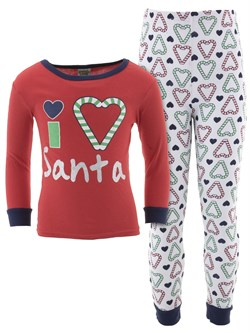 Image of I Love Santa Cotton Pajamas for Baby and Toddler Girls