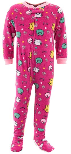 Image of Pink Cat Footed Pajamas for Baby and Toddler Girls