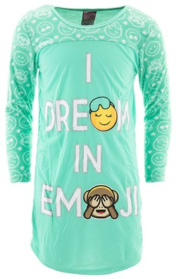 Image of I Dream in Emoji Green Nightgown for Girls