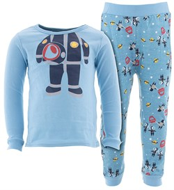 Image of Blue Astronaut Cotton Pajamas for Infant Toddler Boys