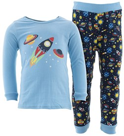Image of Blue Rocket Cotton Pajamas for Infant Toddler Boys