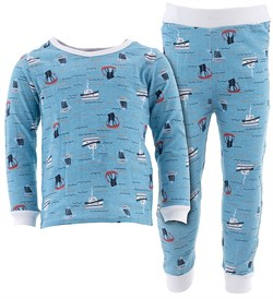 Image of Blue Sail Ships Cotton Pajamas for Infant Toddler Boys