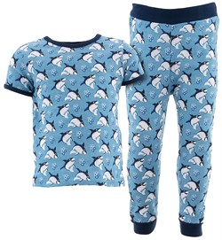 Image of Blue Sharks Cotton Pajamas for Infant Toddler Boys