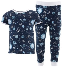 Image of Navy Comets Cotton Pajamas for Infant Toddler Boys
