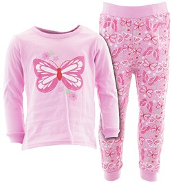 Image of Pink Butterfly Flower Cotton Pajamas for Infant Toddler Girls