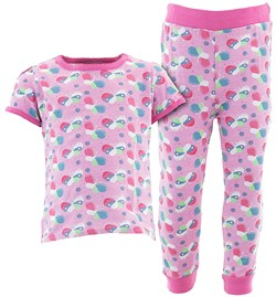 Image of Pink Colorful Butterflies Cotton Pajamas for Infant Toddler Girls