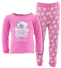 Image of Pink Hug Me Cotton Pajamas for Infant Toddler Girls