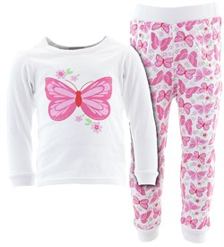 Image of White Butterfly Flower Cotton Pajamas for Infant Toddler Girls