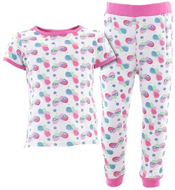Image of White Colorful Butterflies Cotton Pajamas for Infant Toddler Girls