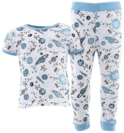 Image of White Comets Cotton Pajamas for Infant Toddler Boys