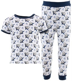 Image of White Sharks Cotton Pajamas for Infant Toddler Boys