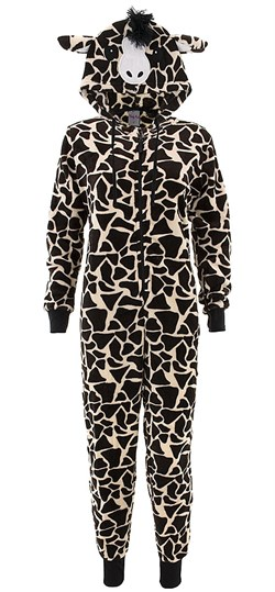 Image of Brown Giraffe Hooded One-Piece Pajamas for Women