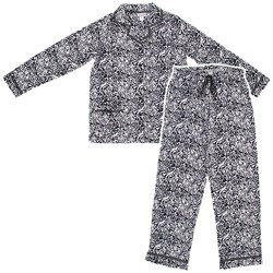 Image of Black Leopard Fleece Pajamas for Women