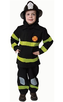 Kids Deluxe Fire Fighter Costume - Black