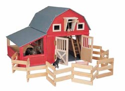 Maxim Red Gable Toy Barn with Corral and Stall 81068