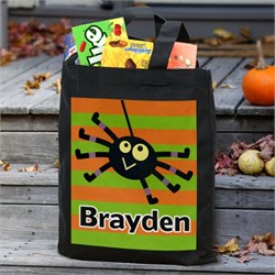 Personalized Striped Trick or Treat Bag PG8396682BK